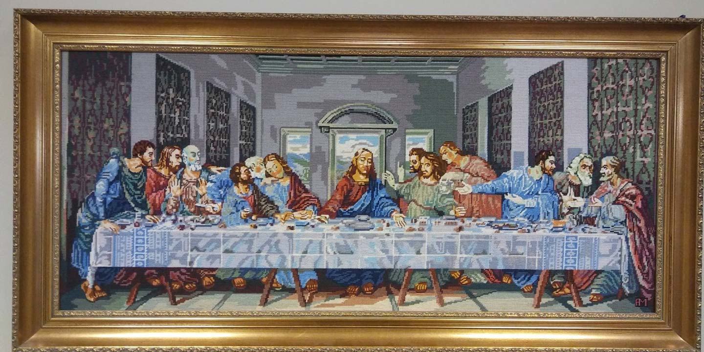 A religious sowing of Jesus and the twelve disciples at the Last Supper.