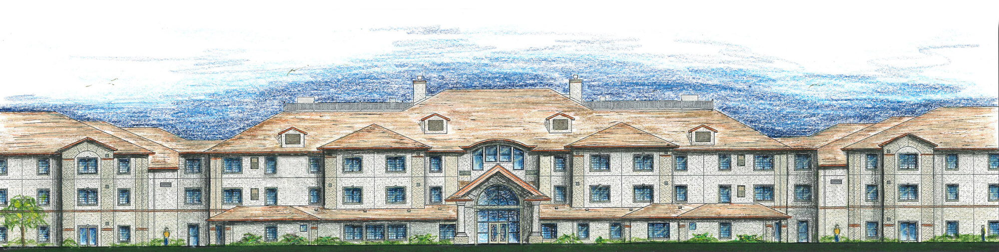 Artist sketch of Lakeview Retirement Community in Columbia, South Carolina.