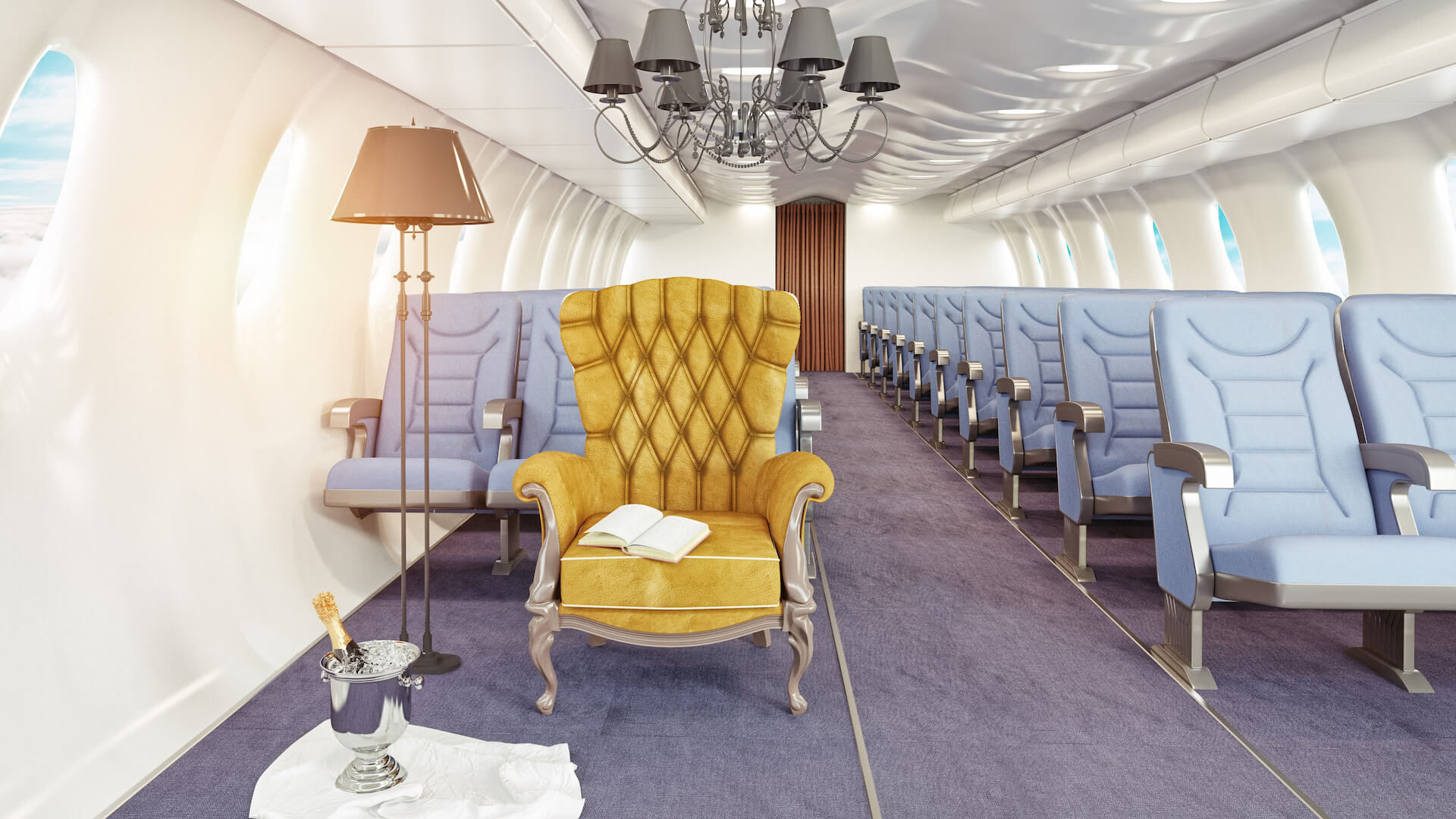 luxury armchair in airplane cabin