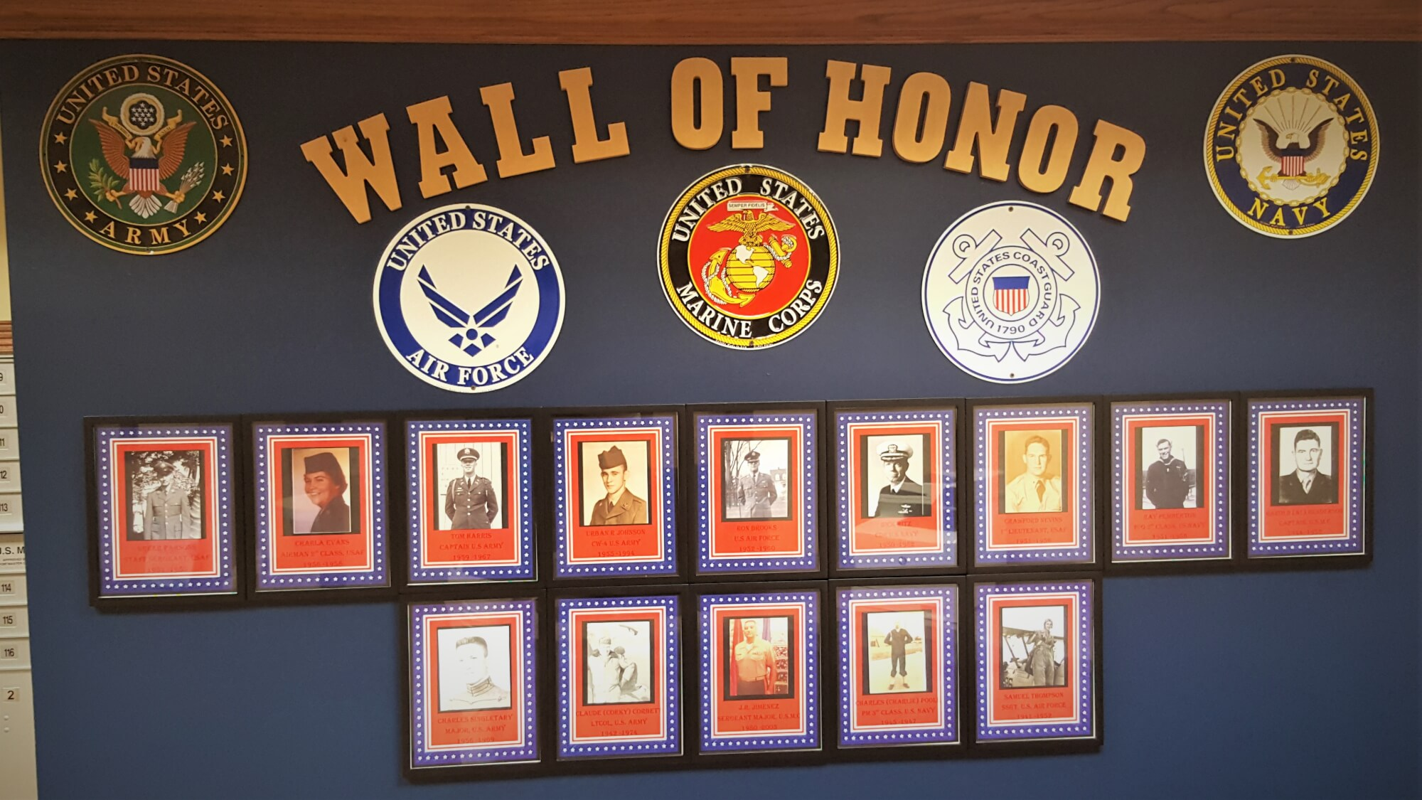 The Wall of Honor at Cahaba Ridge pays tribute to our resident veterans. Thank you for your service!