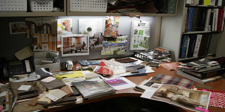 Messy office desk display