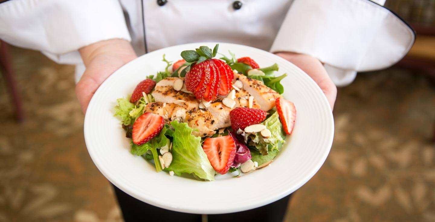 fresh salmon and strawberry salad