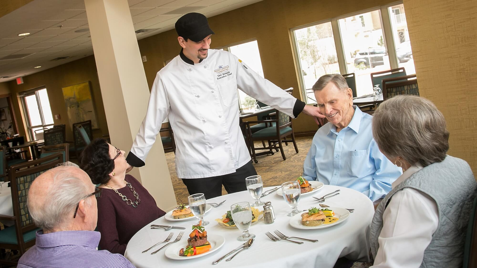 Enjoy an elegant sit-down dinner with courteous wait staff and table-side service.
