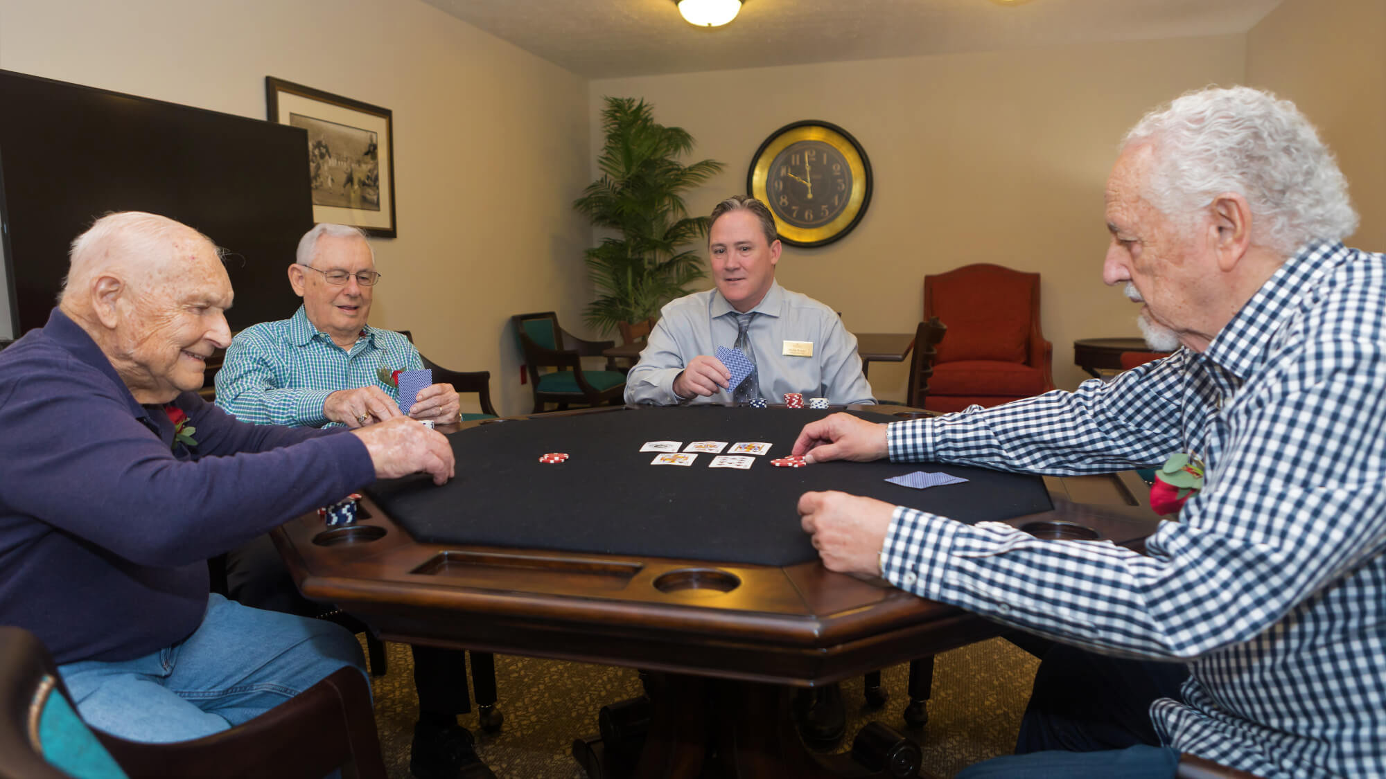 Friendly game of cards at Vickery Rose.