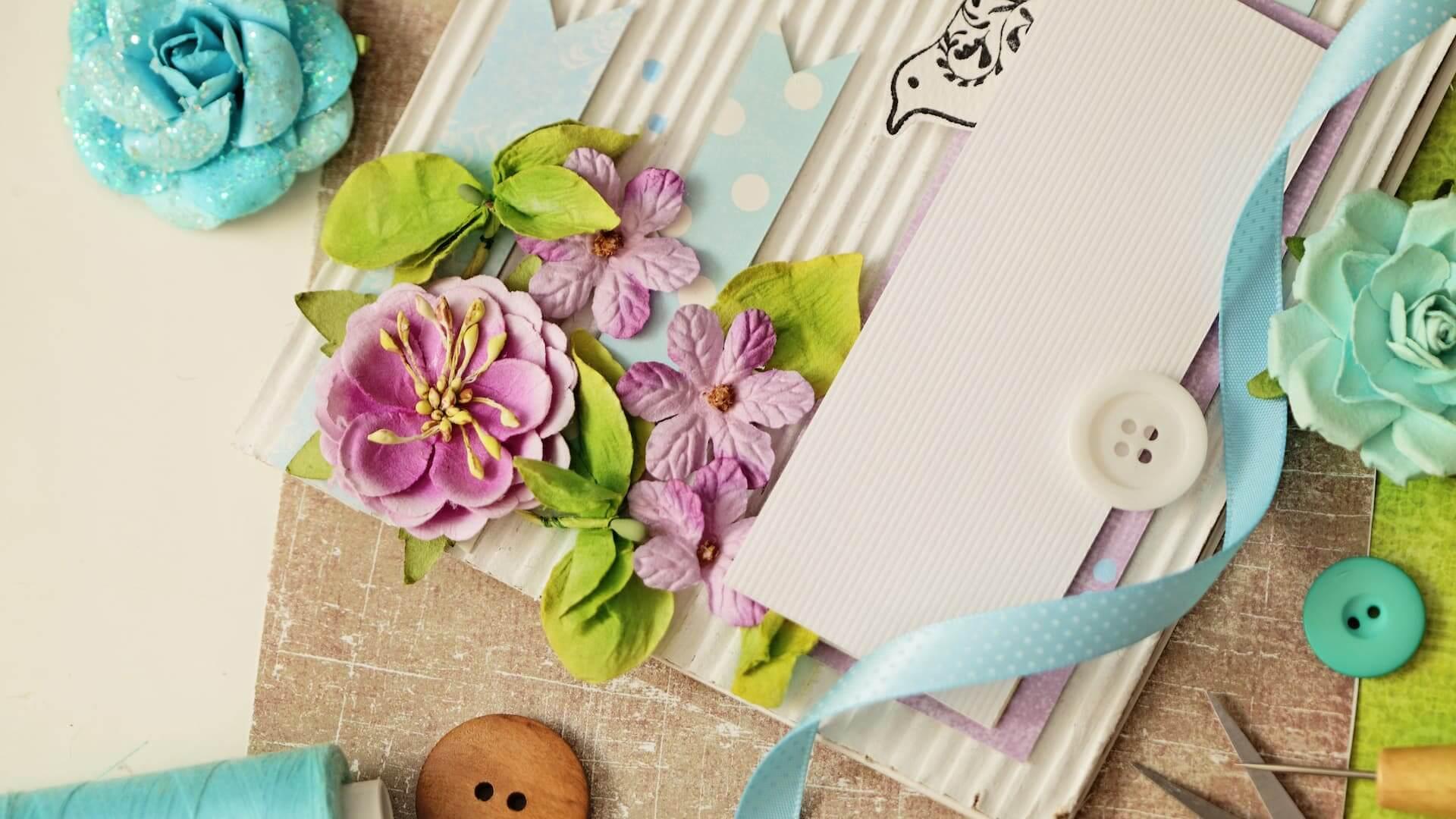 scrap booking. making of greeting card