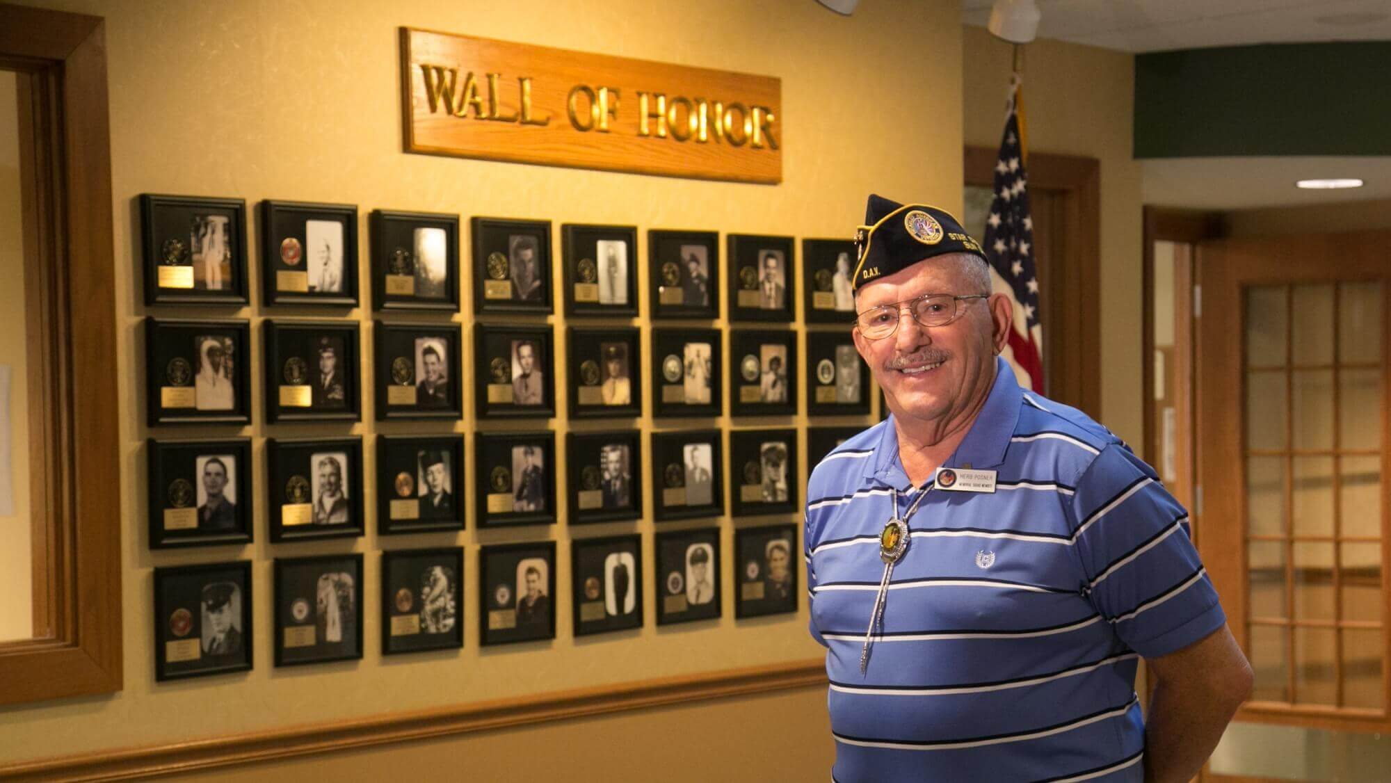 Wall of Honor dedicated to Lakeline Oak's resident veterans.