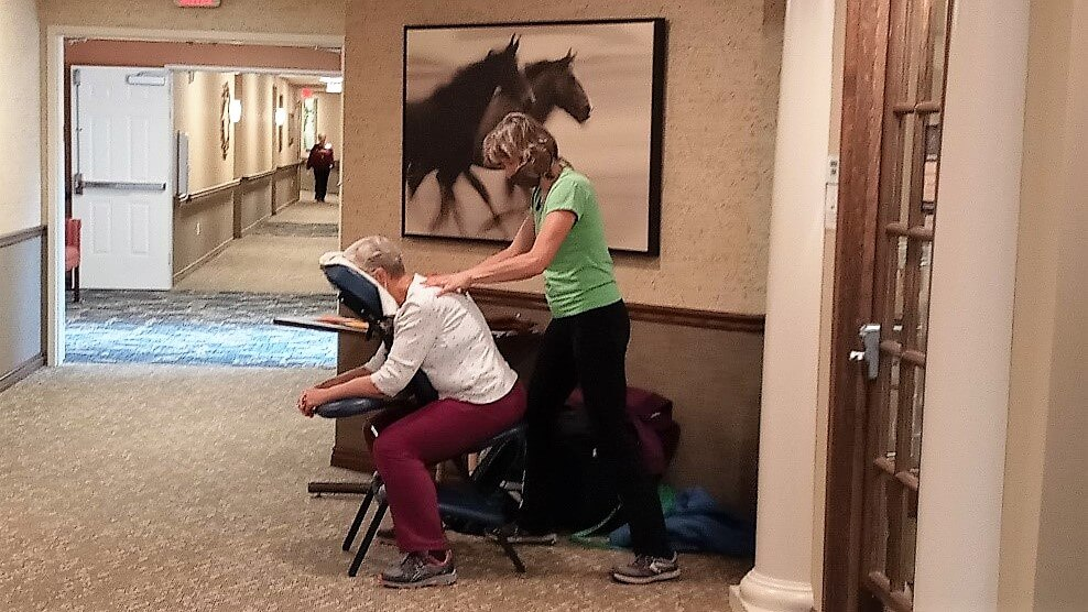 Our residents at Aspen Trail (Colorado Springs, CO) enjoyed the community's first-annual health and wellness fair in early April. Vendor booths lined Main Street and gave our seniors an opportunity to visit with local wellness providers to discover products and services that support healthy minds, bodies, and spirits. A favorite stop was the massage station where residents relaxed for sitting massages—an excellent way to reduce tension and improve mental health.