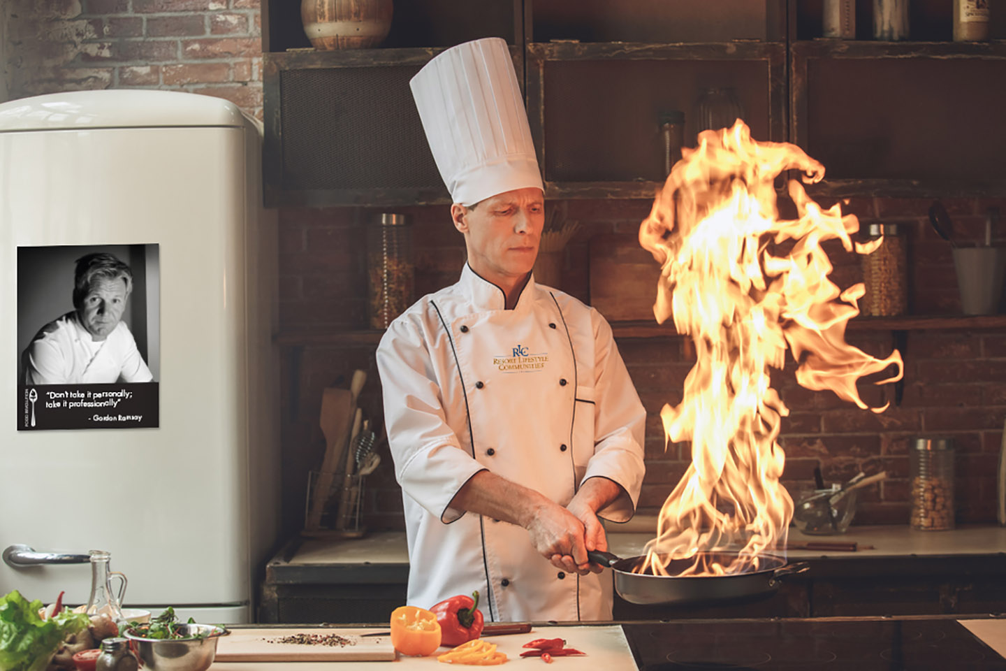 Culinary chef cooking a main dish