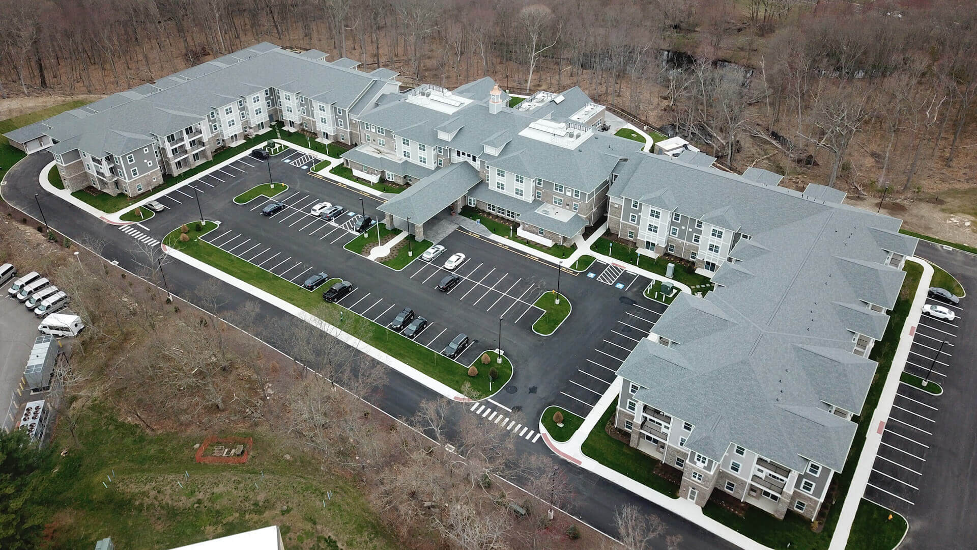 Aerial view of River Valley Retirement Community from April 2021