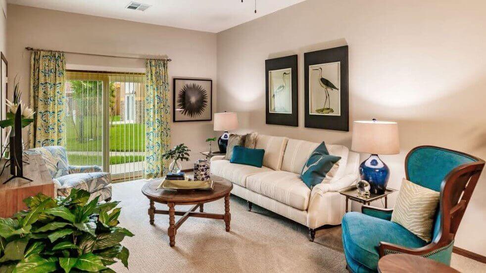 Model Living Room at Seaside Springs Retirement Community