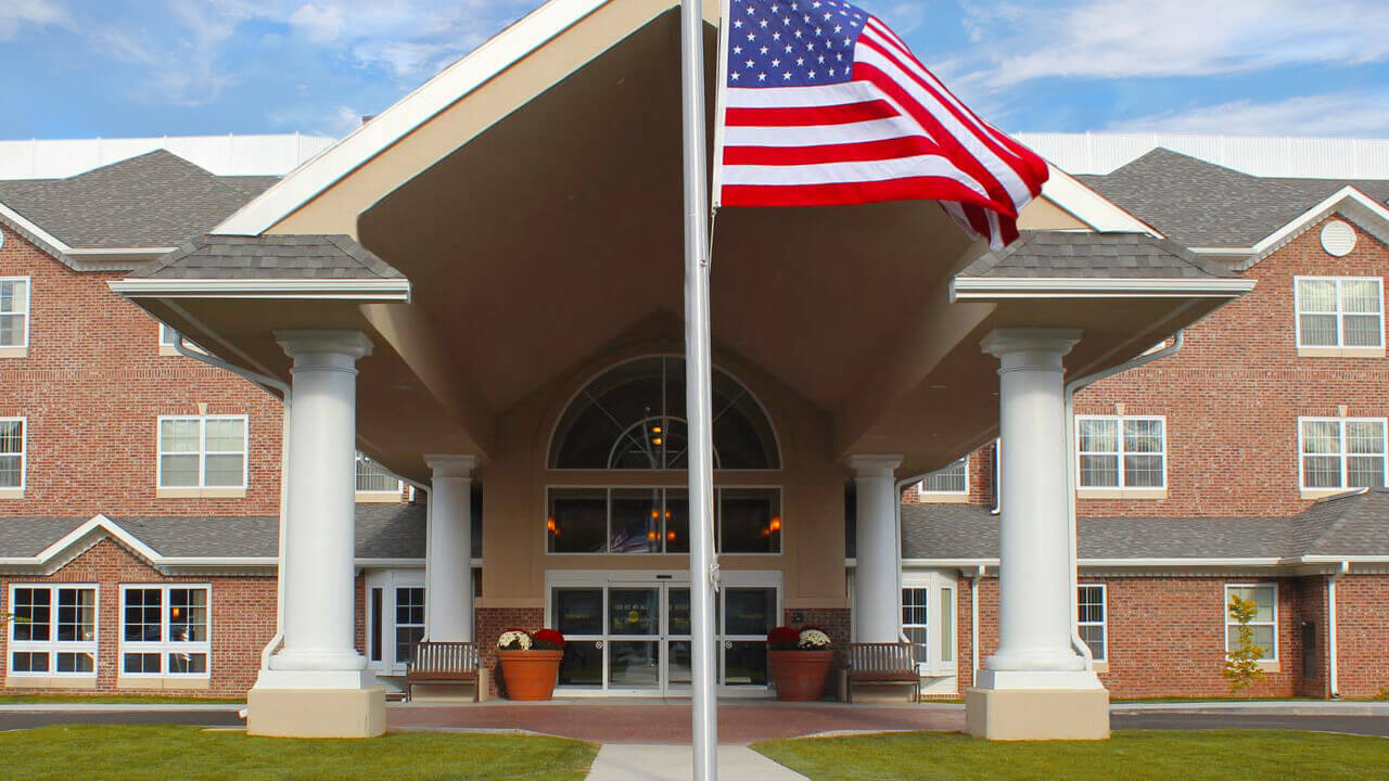 Exterior of Towne Center with American Flag