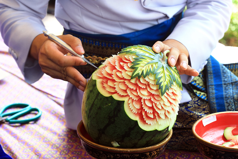 Thai Carving a Watermelon by Chef Kelly.