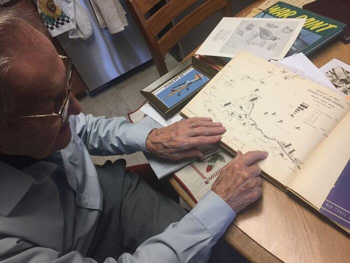 Dr. Paul Stobnicke, 96, traces the path of American forces in the South Pacific in a book about World War II. He was a fighter pilot in th U.S. Army Air Corps and now lives at Towne Center Retirement Community in Fayetteville.