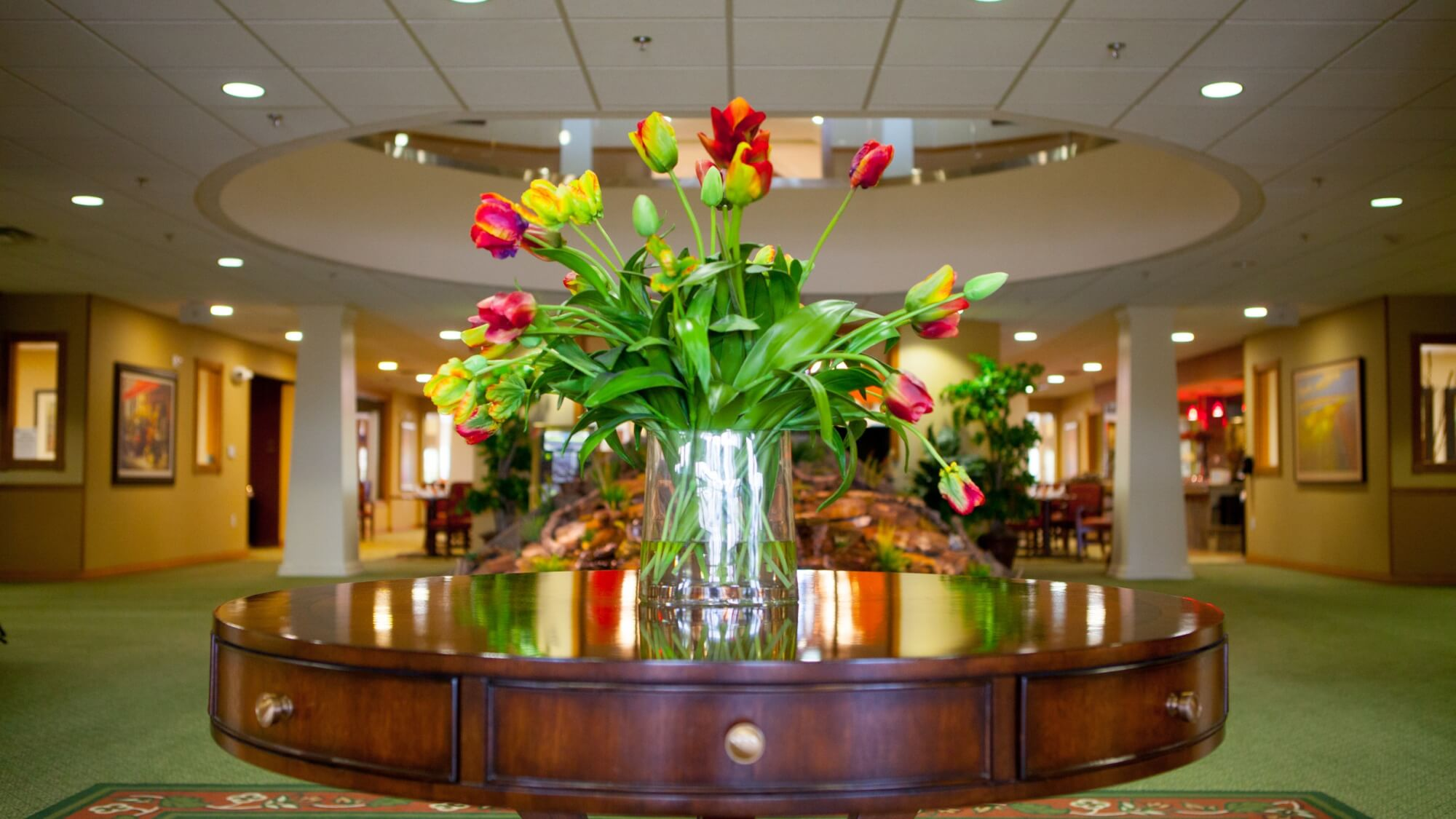 beautiful tulips presented on the front entry table