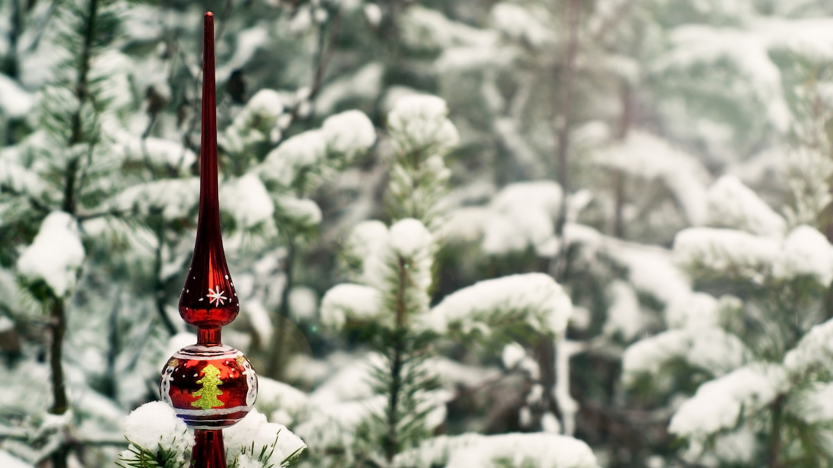 vintage christmas tree topper in a snow-filled pine forest
