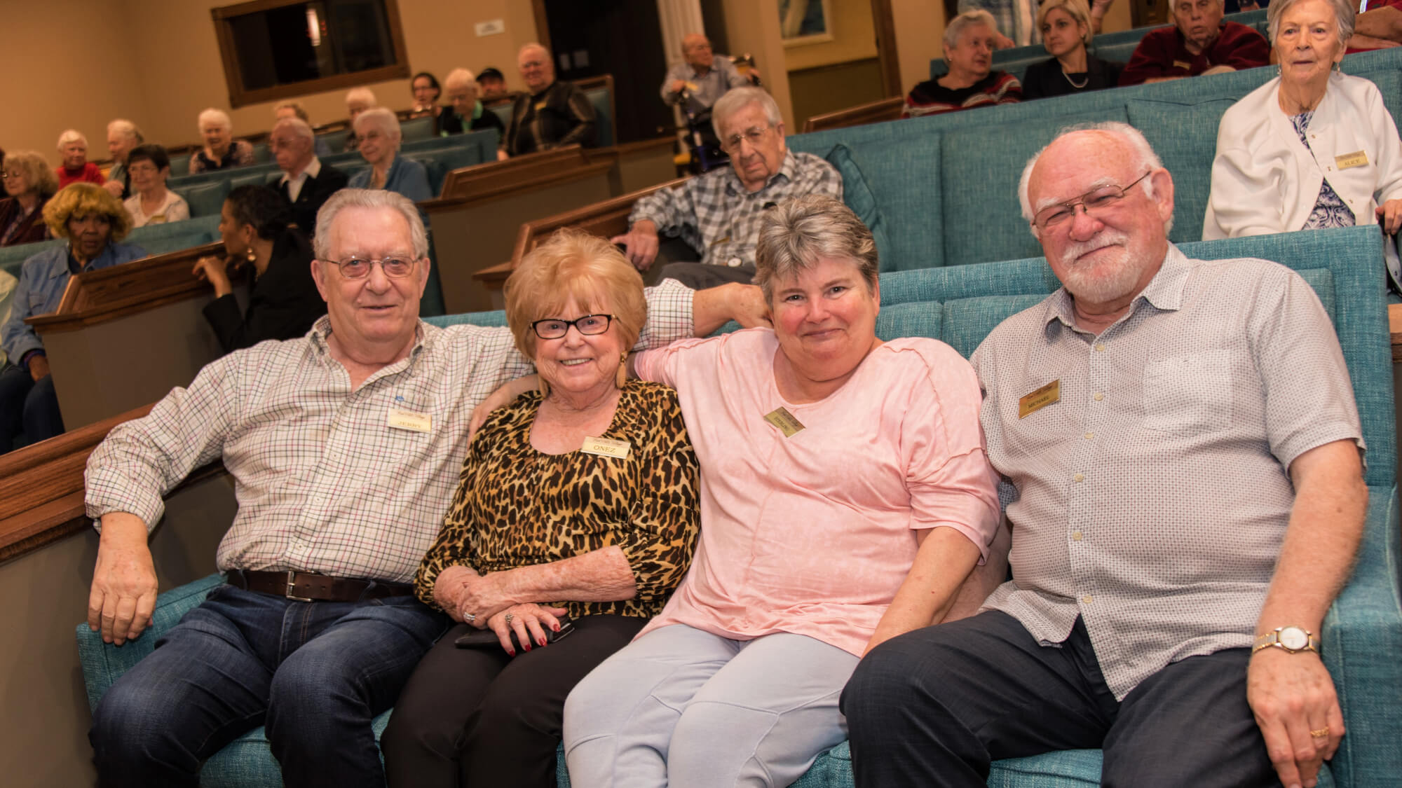 Enjoying ourselves in the theater at Vickery Rose.