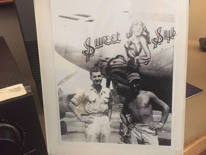 """Paul Stobnicke, left, with the gunnery sergeant who painted the """"Sweet Sybil"""" image on his P-38 fighter plane during World War II. Stobnicke lives at Towne Center Retirement Community in Fayetteville."""